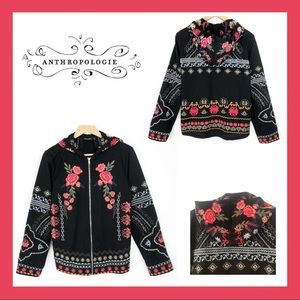 Anthropologie Embroidered Jacket with Hood Size L